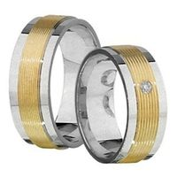 1 Paar Trauringe Eheringe 7 mm Keanu bicolor 585 Gold mit 0,03 ct Diamant