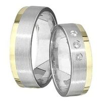 1 Paar Trauringe Eheringe 6 mm Andreas Bicolor 585 Gold mit 0,03 ct Diamant