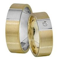 1 Paar Trauringe Eheringe 6 mm Cyrill Bicolor 585 Gold mit 0,02 ct Diamant