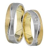 1 Paar Trauringe Eheringe 5 mm Connor Bicolor 585 Gold mit 0,01 ct Diamant 001