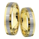 1 Paar Trauringe Eheringe 5 mm David Bicolor 585 Gold mit 0,02 ct Diamant 001