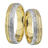 1 Paar Trauringe Eheringe 5 mm Dennis Bicolor 585 Gold mit 0,02 ct Diamant