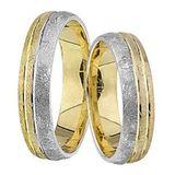 1 Paar Trauringe Eheringe 5 mm Dennis Bicolor 585 Gold mit 0,02 ct Diamant 001
