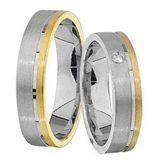 1 Paar Trauringe Eheringe 5 mm Dominic Bicolor 585 Gold mit 0,02 ct Diamant 001