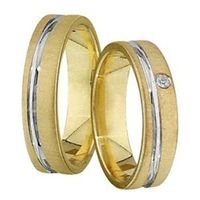 1 Paar Trauringe Eheringe 5 mm Marcus bicolor 585 Gold mit 0,02 ct Diamant