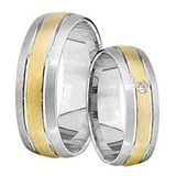 1 Paar Trauringe Eheringe 6 mm Joran Bicolor 585 Gold mit 0,02 ct Diamant 001