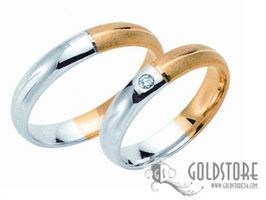 1 Paar Trauringe Eheringe 4 mm Bicolor G8021 585 Gold Diamant 0,02 ct