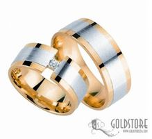 1 Paar Trauringe Eheringe 8 mm G8039 Bicolor 585 Gold Diamant 0,03 ct