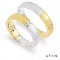 1 Paar Trauringe Eheringe 4,5 mm Taylor Bicolor 585 Gold Diamant 0,08 ct – Bild 2
