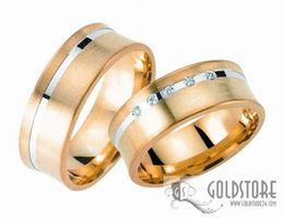 1 Paar Trauringe Eheringe 7 mm G8003 Bicolor 333 Gold Diamant 0,05 ct