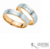 1 Paar Trauringe Eheringe 5 mm G8012 Bicolor 333 Gold Diamant 0,03 ct