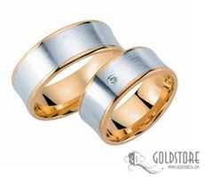 1 Paar Trauringe Eheringe 8 mm G8037 Bicolor 333 Gold Diamant 0,03 ct