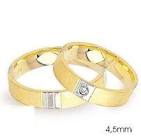 1 Paar Trauringe Eheringe 4,5 mm Precious Bicolor 585 Gold Diamant 0,03 ct