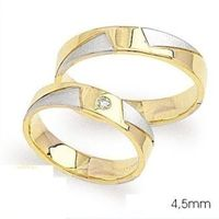 1 Paar Trauringe Eheringe 4,5 mm Jennifer 585 Bicolor Gold Diamant 0,02 ct