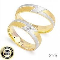 1 Paar Trauringe Eheringe 5 mm Rachel Bicolor 585 Gold Diamant 0,03 ct