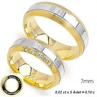 1 Paar Trauringe Eheringe 7 mm Eloise Bicolor 333 Gold Diamant 0,10 ct