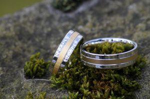 1 Paar Trauringe Eheringe 6 mm Davin Bicolor 585 Gold 10 * 0,01 ct Diamant