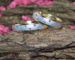 1 Paar Trauringe Eheringe 4,5 mm Juna Bicolor 585 Gold mit Gravur & Etui