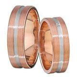1 Paar Trauringe 6 mm Giovanni Rosegold-Weißgold 585 Gold 0,02 ct Diamant 001