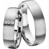 Trauringe Hochzeitsringe Eheringe 585 Gold Modell Delight 6 mm 3 x 0,02 ct Diamanten 001