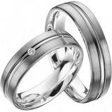 Trauringe Hochzeitsringe Eheringe 585 Gold Modell Merry 5 mm 0,02 ct Diamant 001
