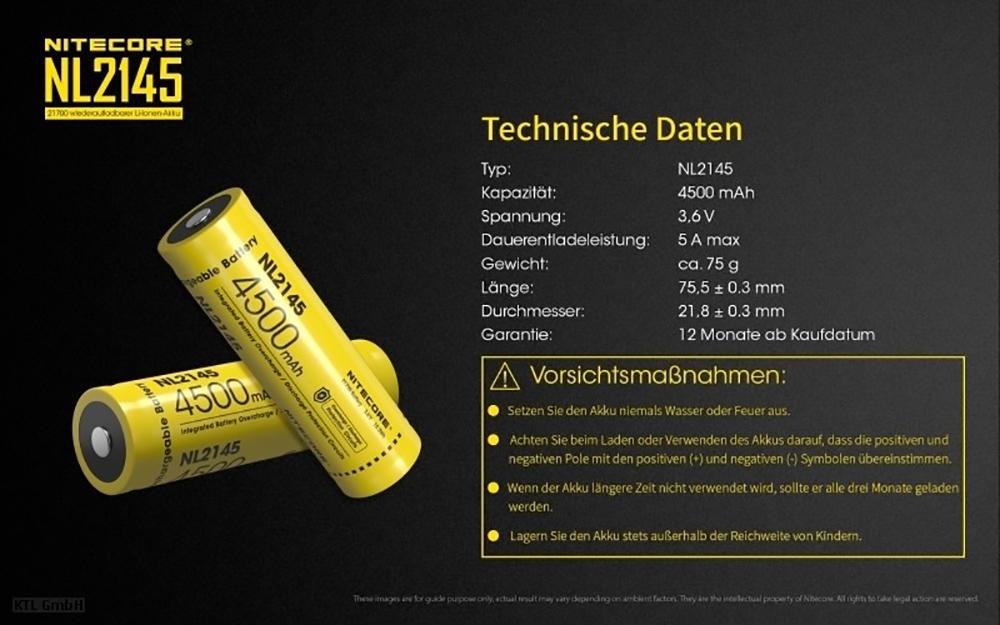 PCB geschützt 3,6V Li-Ionen 3,7V NiteCore 21700 NL2145-4500mAh