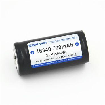 Keeppower 16340 - 700mAh, 3,7V Li-Ionen-Akku geschützt – Bild 1