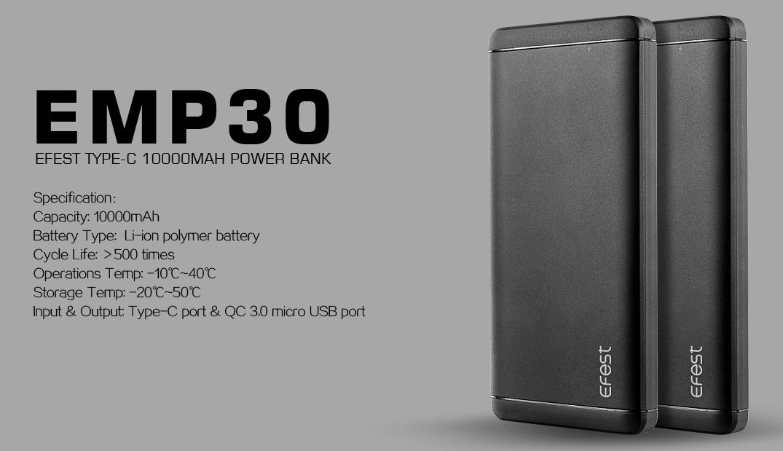 ÎÏÎ¿ÏέλεÏμα εικÏÎ½Î±Ï Î³Î¹Î± EFEST EMP30 TYPE-C 10000 MAH POWER BANK