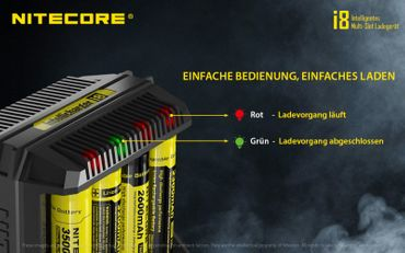 Nitecore Intellicharger I8 - Ladegerät für Li-Ion und Ni-MH, Ni-CD Akkus – Bild 7