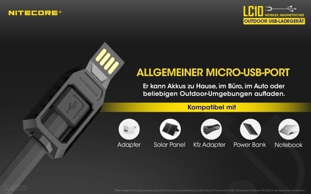 Nitecore LC10 kompaktes Reise-Ladegerät für Zylindrische Li-Ionen Akkus