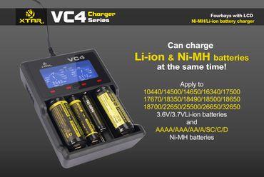 Xtar VC4 - Ladegerät für Li-Ion 3,6V - 3,7V und NIMH Akkus + USB-Kabel – Bild 1