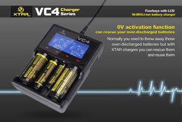Xtar VC4 - Ladegerät für Li-Ion 3,6V - 3,7V und NIMH Akkus + USB-Kabel – Bild 7