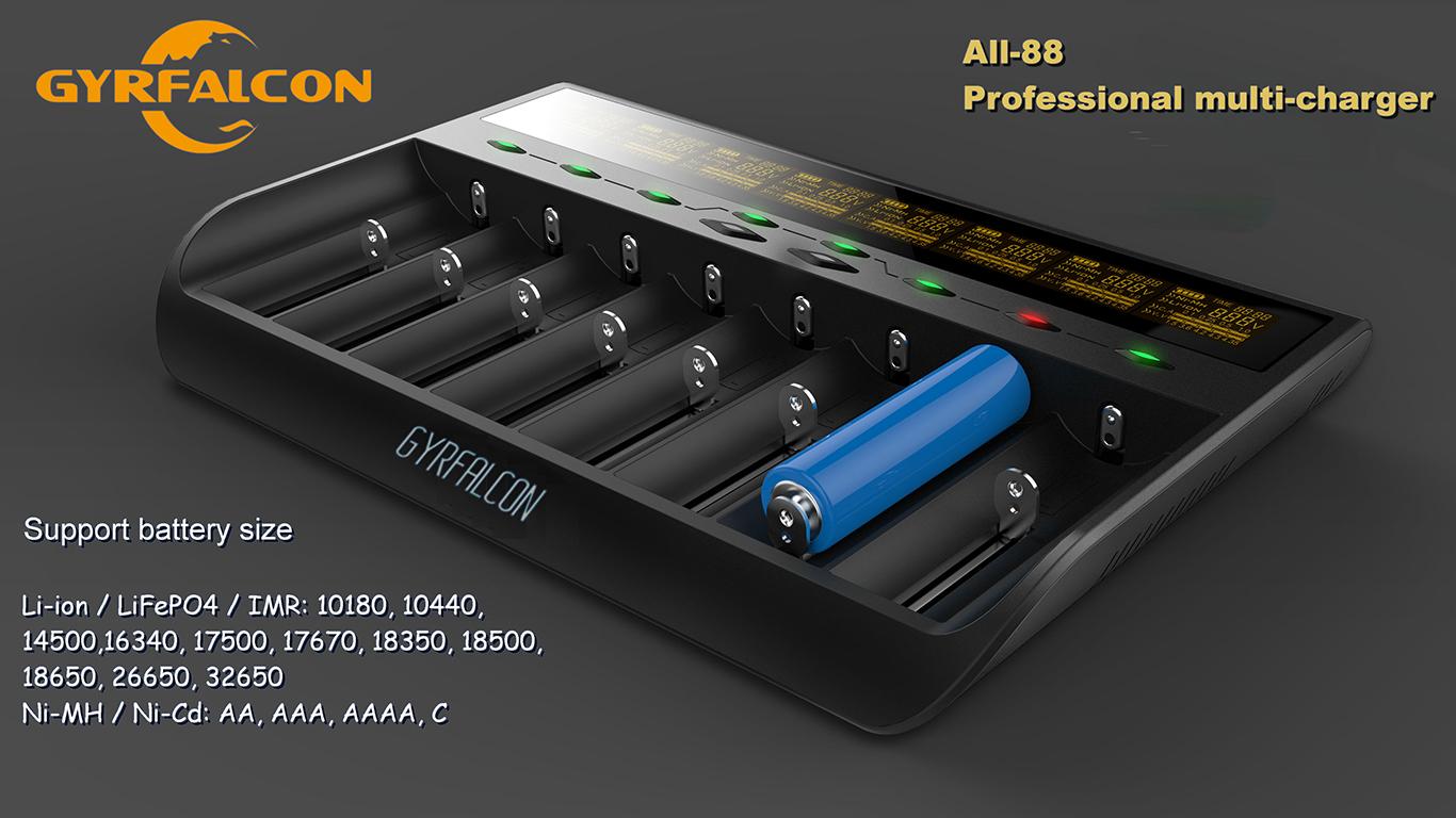8fach Akkuladergerät für LiIon NiMH Enova Gyrfalcon All-88 LiFePO4