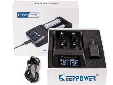 Keeppower L2 Plus – 2-Schacht USB-Li-Ion-Lader mit Display – Bild 1