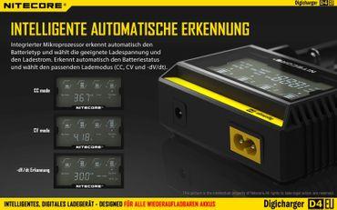 Nitecore Sysmax Digicharger D4 EU - intelligentes Ladegerät für Li-Ion, LiFePo4, Ni-MH, Ni-CD Akkus – Bild 3