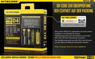 Nitecore Sysmax Digicharger D4 EU - intelligentes Ladegerät für Li-Ion, LiFePo4, Ni-MH, Ni-CD Akkus – Bild 12