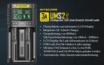 Nitecore UMS2 - intelligentes 2 - Schacht USB Ladegerät für Li-Ion, LiFePo4, Ni-MH, Ni-CD Akkus