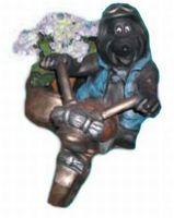 Gartenfigur Mauly auf Motorrad mit Beiwagen