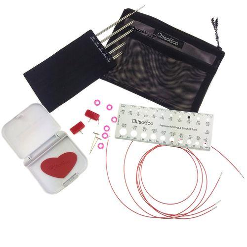 Chiaogoo Rundstricknadelset TWIST RedLace MINIS Set - 10 cm -  5 auswechselbaren Nadelspitzen-Paaren