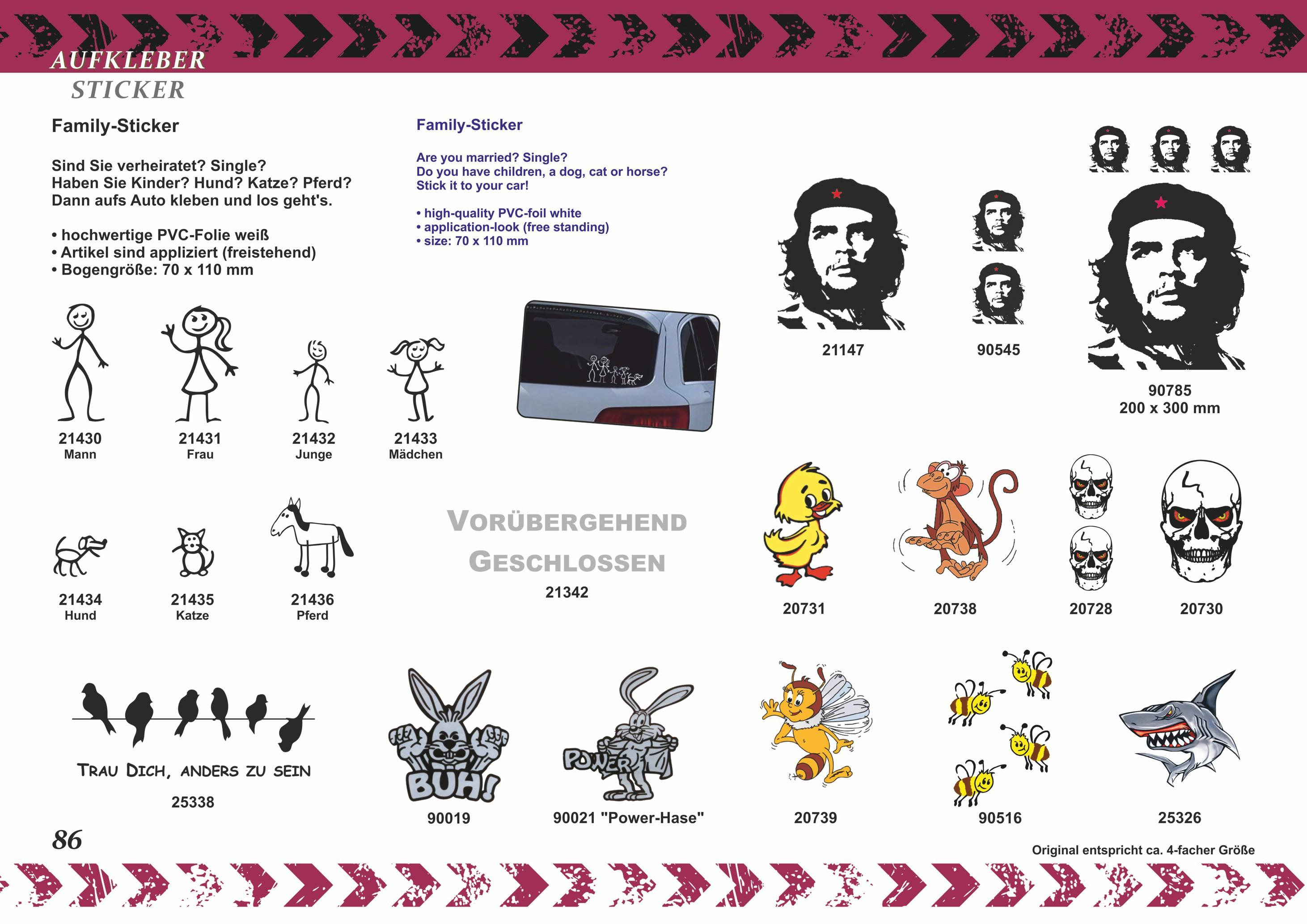 Family-Sticker garçon dessin au trait 70 x 35 mm appliqué – Bild 5