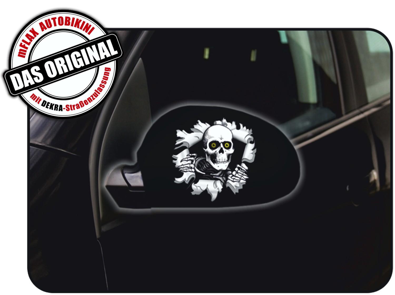 Außenspiegelflagge Car-Bikini 2er-Set Einschussloch Totenkopf – Bild 1