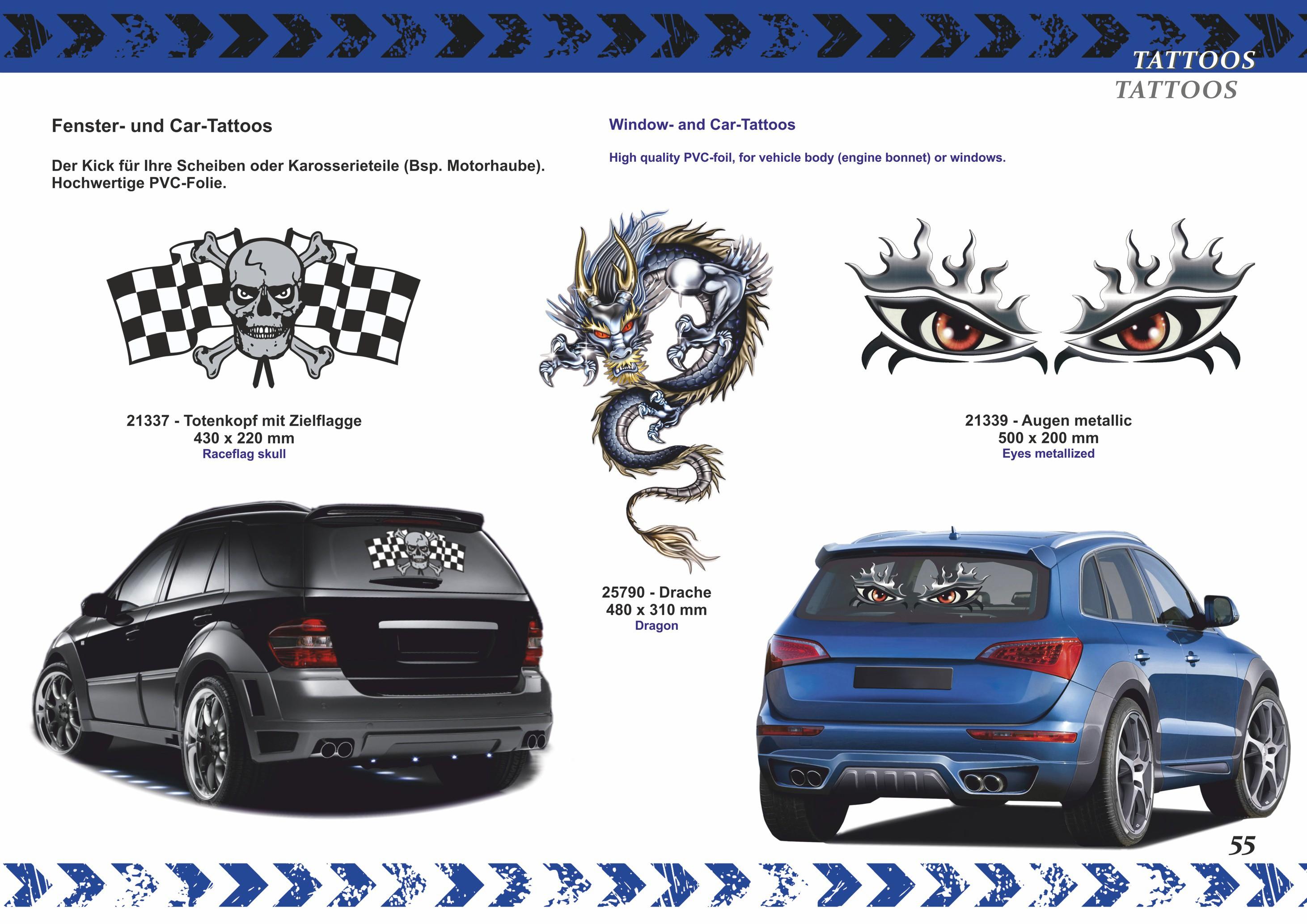 Fenster- und Car-Tattoo Totenkopf mit Zielflagge – Bild 3