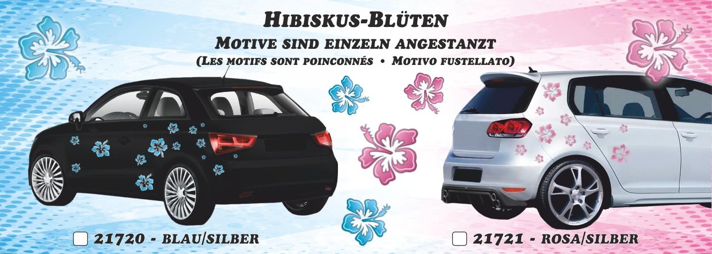 Sticker Hibiscus Blossom 180 x 160 mm pink/silver – Bild 2