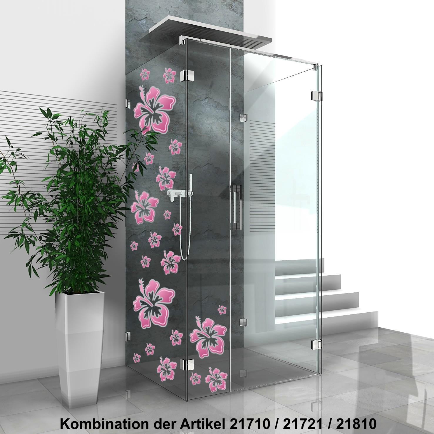Aufkleber Hibiskusblüte 180 x 160 mm rosa/silber – Bild 4