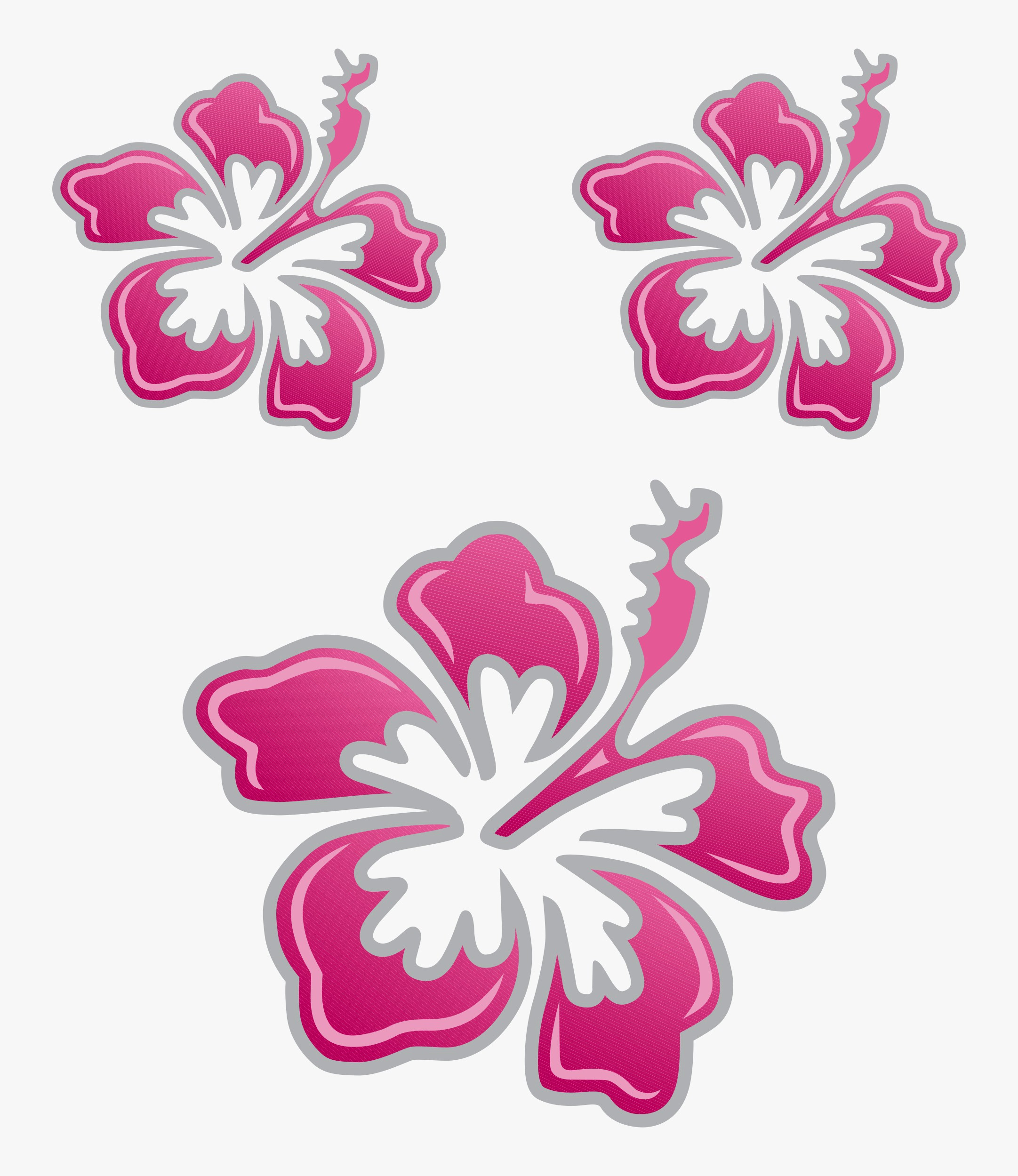Sticker Hibiscus Flower Set Dimension 3 Pieces Pinksilver Car Deco