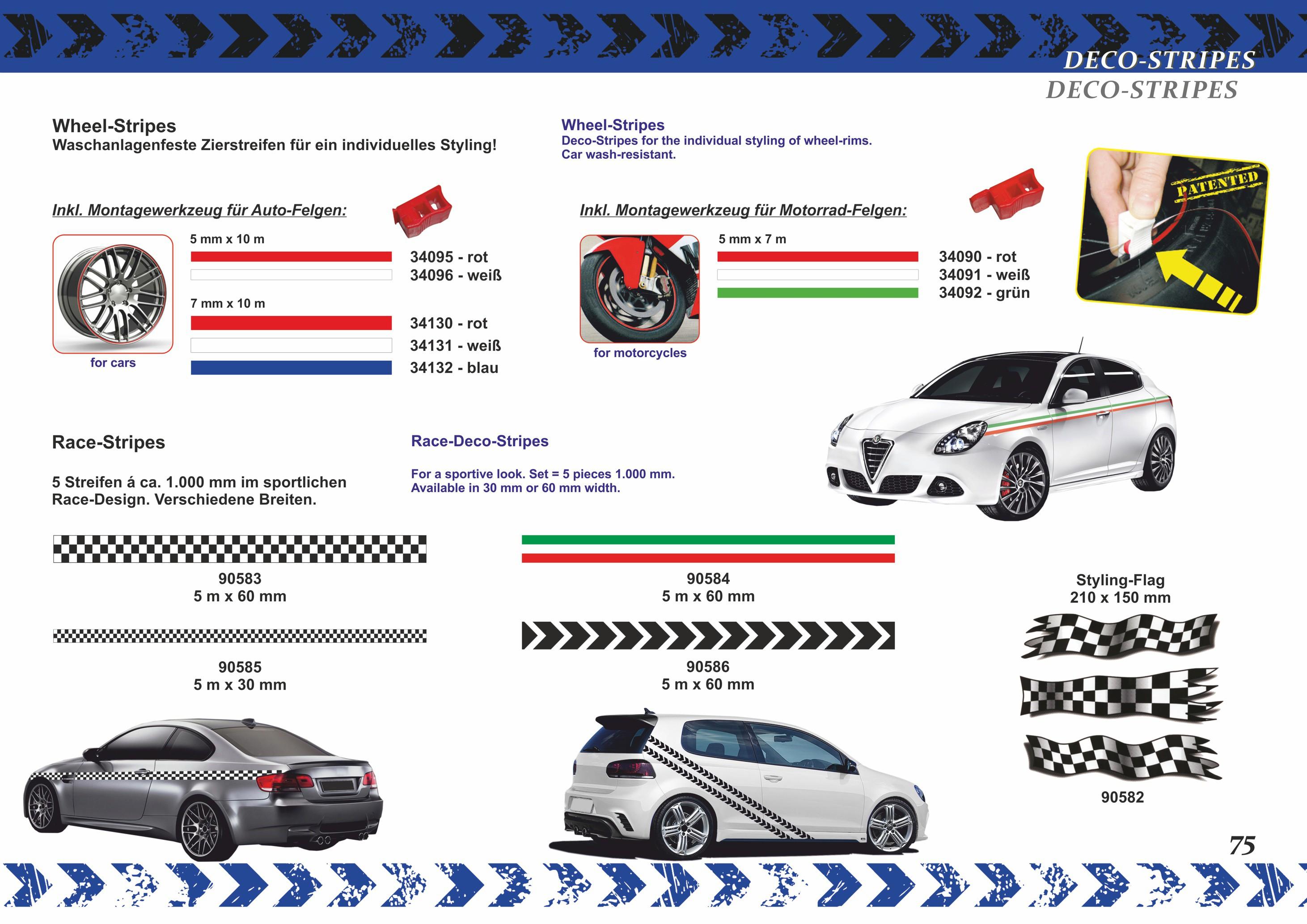 Auto Zierstreifen Deco-Stripe silber 7 mm x 10 m Tuning Styling Motorsport Motor