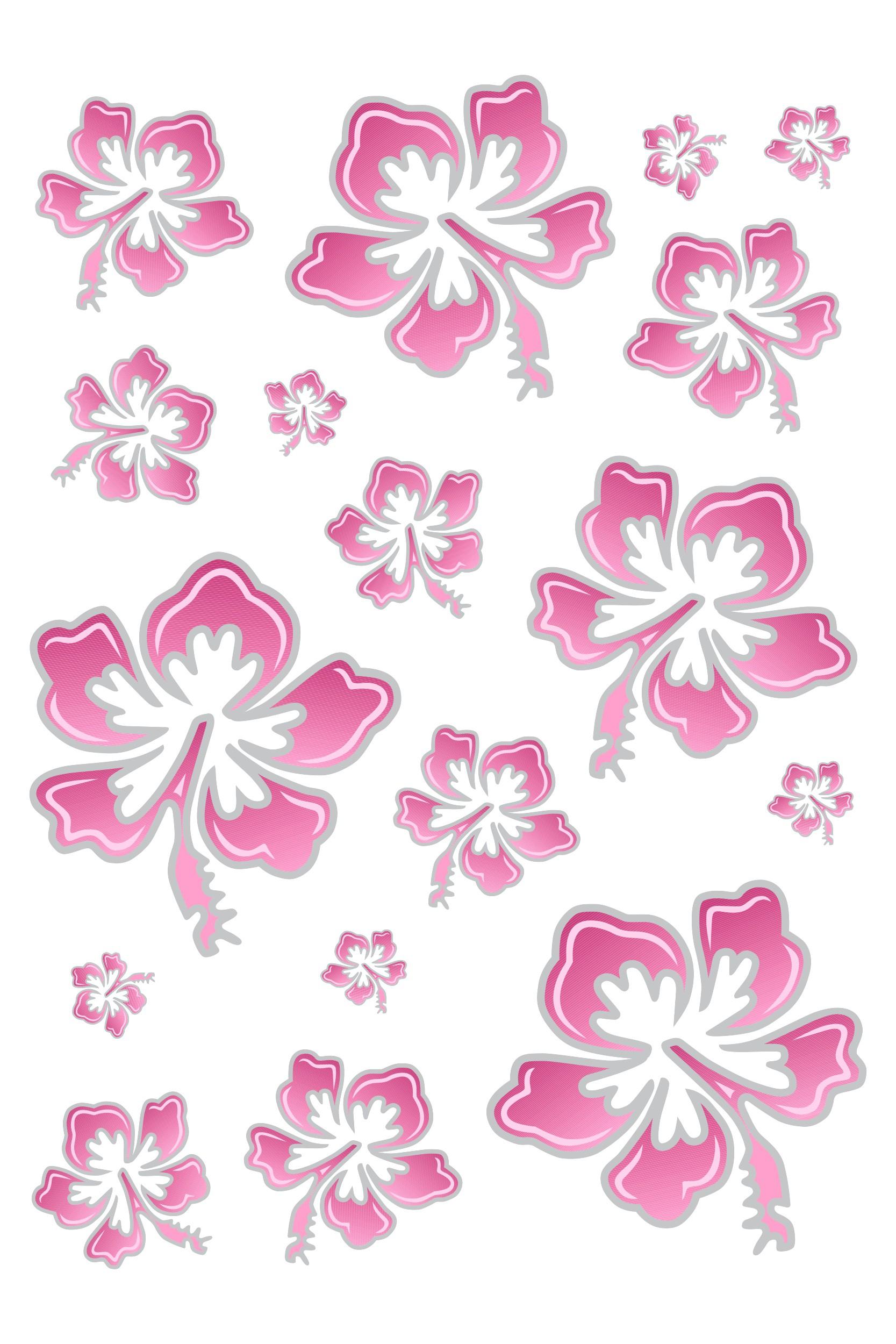 Sticker Hibiscus Flower Set 300 x 200 mm pink/silver