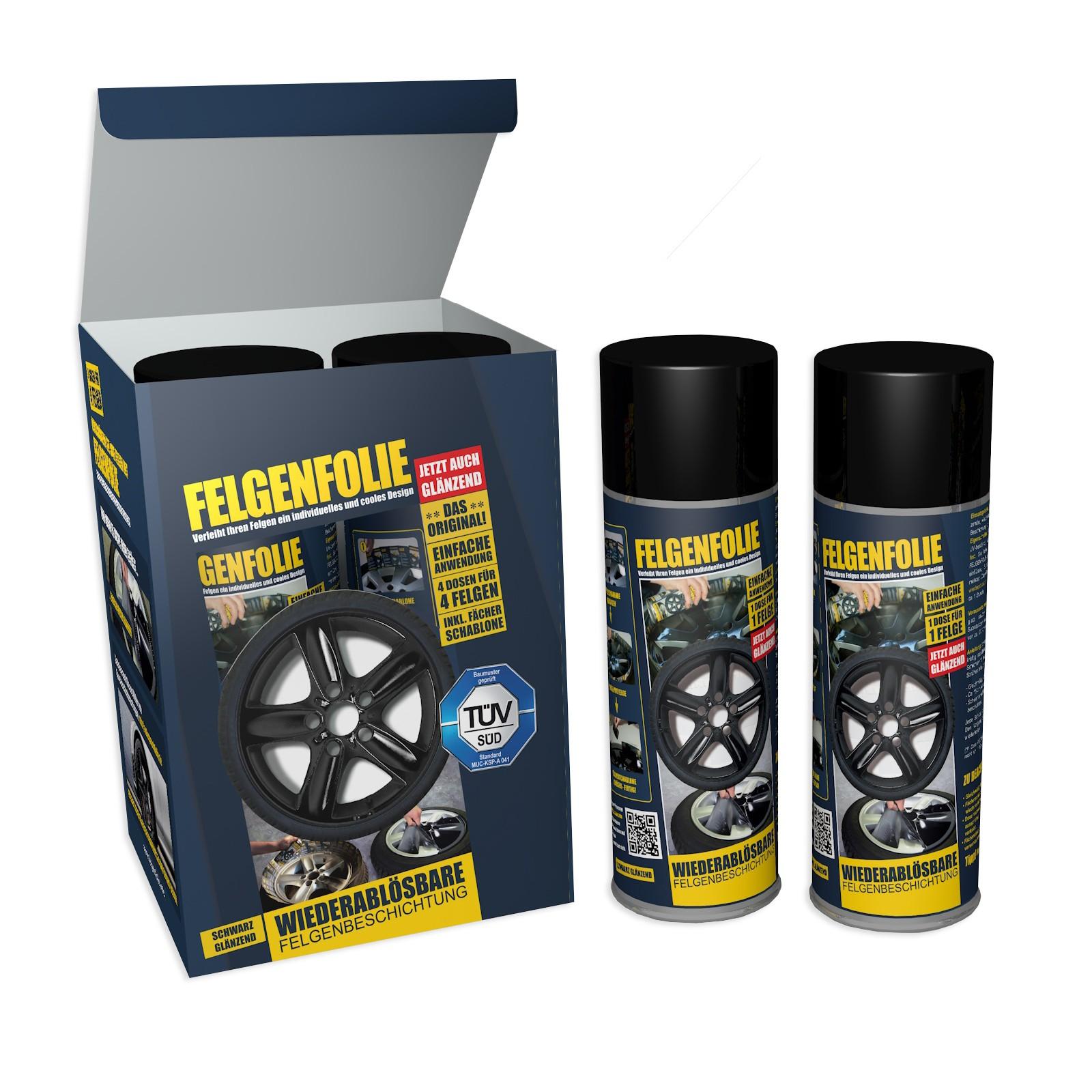 Felgenfolie Mibenco schwarz glänzend (4 Dosen à 400 ml im Set) ... auch für Karosserie! – Bild 1