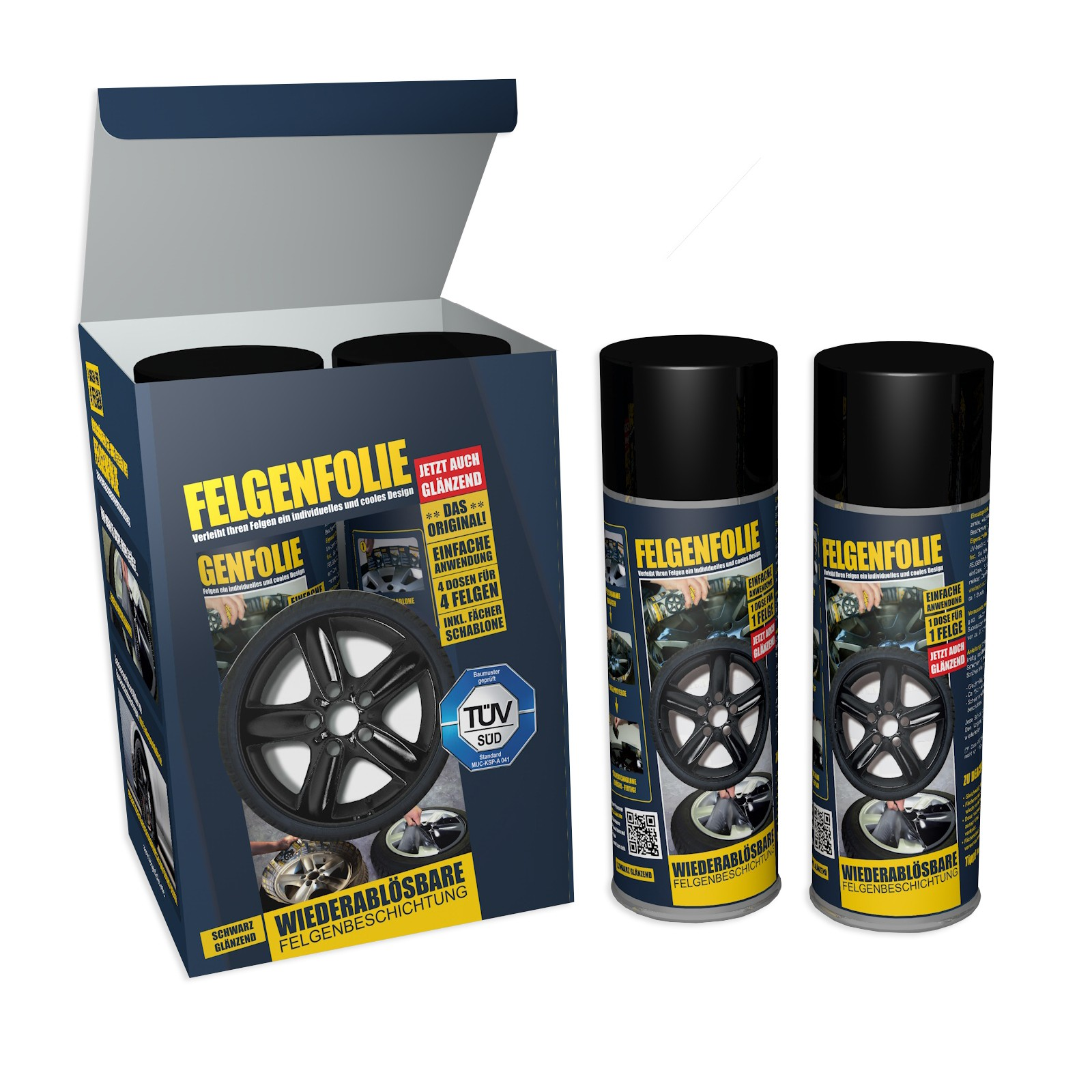 Felgenfolie Mibenco schwarz glänzend (4 Dosen à 400 ml im Set) ... auch für Karosserie!