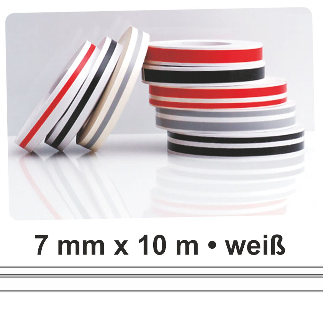 Car Deco-Stripe white 7 mm x 10 m  !!!Double-Stripe!!!